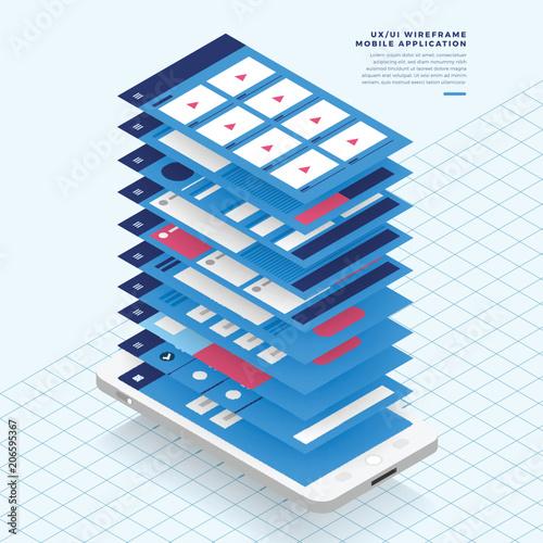 Ux Ui Flowchart Mock Ups Mobile Application Concept Isometric Flat