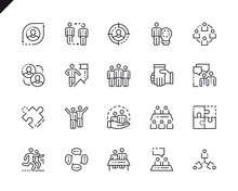 Simple Set Teamwork Line Icons For Website And Mobile Apps Sticker