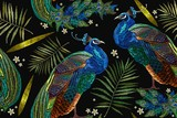 Embroidery peacocks tropical birds and palm leaves seamless pattern. Fashionable template for design of clothes. Classical fashionable embroidery beautiful peacocks - 206605930
