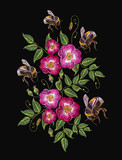 Embroidery wild rose and bumble bee, dogrose flowers. Classic style embroidery, beautiful dogrose vector - 206605952