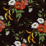 Beautiful bouquet of chamomiles, poppies classic embroidery seamless background for clothes. Embroidery white chamomiles and red poppies seamless pattern - 206605955