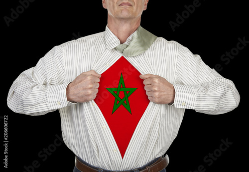 Aluminium Marokko Businessman showing flag superhero suit underneath his shirt