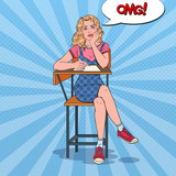 Pop Art Exhausted Student Sitting on the Desk During Boring University Lecture. Tired Pretty Woman in College. Education Concept. Vector illustration