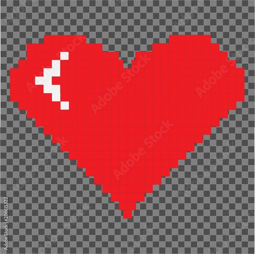 Pixel heart isolated on pixel packground