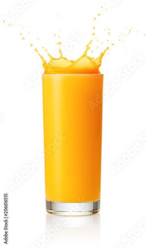 Fotobehang Sap single glass of orange juice with splash isolated on white background