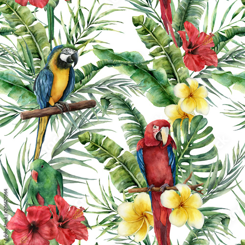 Watercolor tropical seamless pattern with tropical leaves and parrot. Hand painted flowers and palm branch on white background. Botanical illustration for design, print, fabric or background. - 206620364