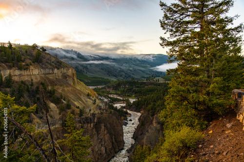 Beautiful Yellowstone Valley at Sunrise