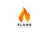 Fire Flame Logo design vector. Burning Inferno Energy Power icon