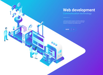 Isometric Flat Web vector. Website design Production studio © Sentavio