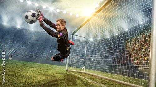 Leinwanddruck Bild Torwart hält Ball