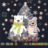 Christmas or New Year greeting card with hand drawn decorated Xmas tree and plush pretty bears - 206629763