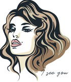 Fashion vector illustration, portrait of young woman with beautiful lips and eyes. I see you - 206629988