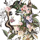 Fashion illustration with beautiful young woman portrait, floral and flowers - 206630163