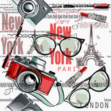 Fashion vector pattern lipstick, camera, glasses, words New York, London, Paris - 206630503