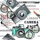 Fashion vector pattern lipstick, camera, glasses and words New York, London, Paris - 206630535