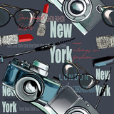 Fashion vector pattern with  lipstick, camera, glasses, words New York, London, Paris - 206630793