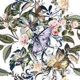 Floral pattern with roses, orange flowers and butterflies - 206631395