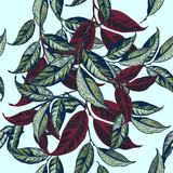 Floral vector pattern with green and red leafs hand drawn style - 206631913
