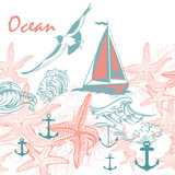 Illustration on ocean theme with seagull, starfishes and ship - 206632122
