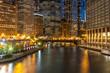 Chicago evening downtown skyline