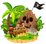 Pirate and Children on Island - 206634568
