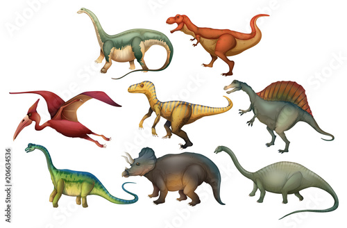 Fototapeta A Set of Diffrent Dinosaurs
