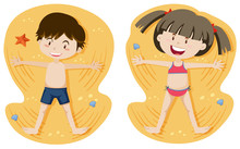Boy And Girl Playing Sand Sticker