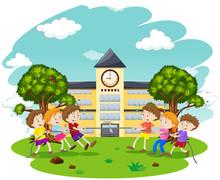 Kids Play Tug Of War At School Sticker