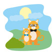 tiger animal with glasses and his son in the landscape