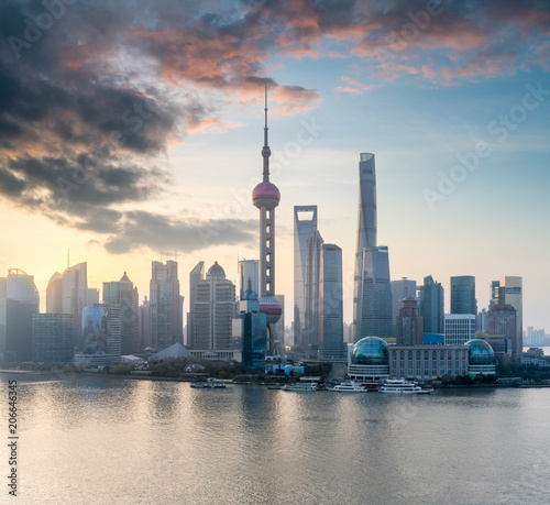 shanghai cityscape with morning glow - 206646345