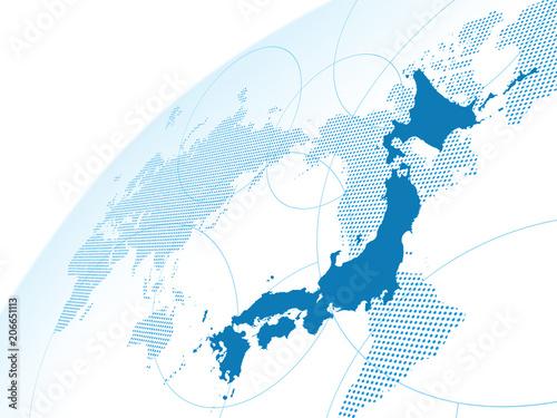 Fotobehang Wereldkaarten 日本地図 世界地図 グローバル ビジネス