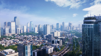 Beautiful Jakarta city under clear sky