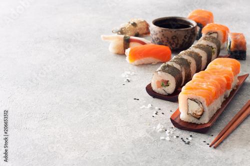 Aluminium Sushi bar Close up Sushi Set, Soy Sauce, Ginger and Chopstiks