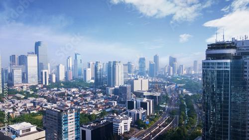 Leinwanddruck Bild Beautiful Jakarta city under clear sky
