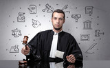 Handsome judge with court symbols around - 206654142