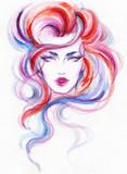beautiful woman. fashion illustration. watercolor painting - 206660759
