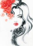 beautiful woman. fashion illustration. watercolor painting - 206660902