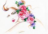 beautiful woman. fashion illustration. watercolor painting - 206660941