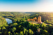 Leinwanddruck Bild - aerial view to the Turaida castle and river Gauja at sunset, Latvia