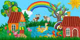 summer village banner with farm animals houses sculptures