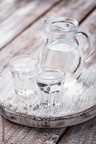 Glasses and jug of cold water