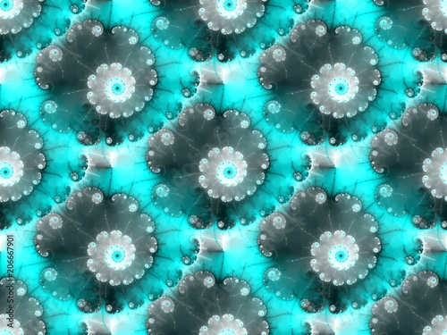 Seamless fractal pattern in a translucent blue colors