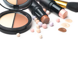 Makeup contour products, make up artist tools. Face contouring make-up. Highlight, shade, contour and blend. Trendy glamour makeover - 206668714