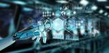 White cyborg hand using digital datas interface 3D rendering - 206670739