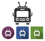 Trolleybus icon in different variants with long shadow