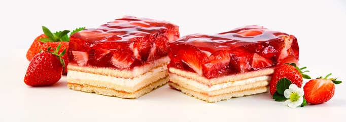 Two slices of strawberry and cream layer cake © exclusive-design