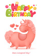 Happy Birthday card template with unicorn cartoon character