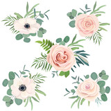 Floral bouquet set with rose, anemone and eucalyptus branch for wedding decoration, greeting card, birthday, Easter, invite. Vector hand drawn illustration. Watercolor style - 206682312