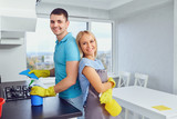 House cleaning. A young couple is cleaning an apartment. - 206684568