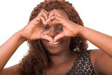 Woman Doing Heart Sign    Sticker
